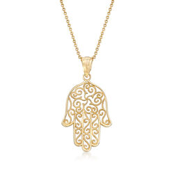 14kt Yellow Gold Hamsa Pendant Necklace, , default