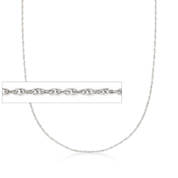 1mm 14kt White Gold Rope Chain Necklace, , default