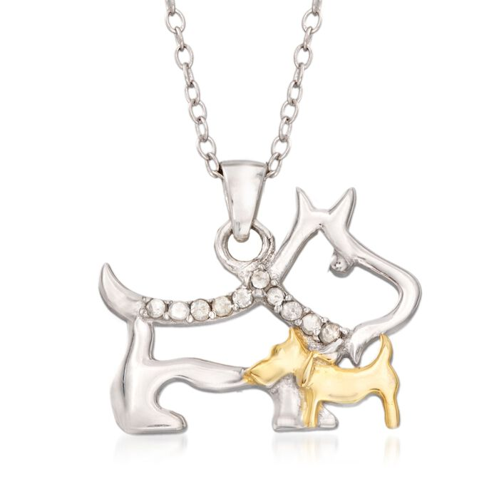 .10 ct. t.w. Diamond Mother Dog and Puppy Pendant Necklace in Sterling Silver and 18kt Gold Over Sterling