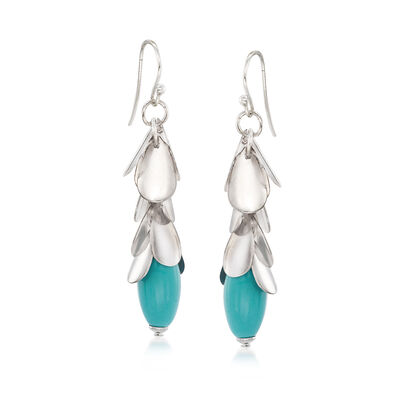 Turquoise-Blue Glass Leaf Drop Earrings in Silvertone, , default