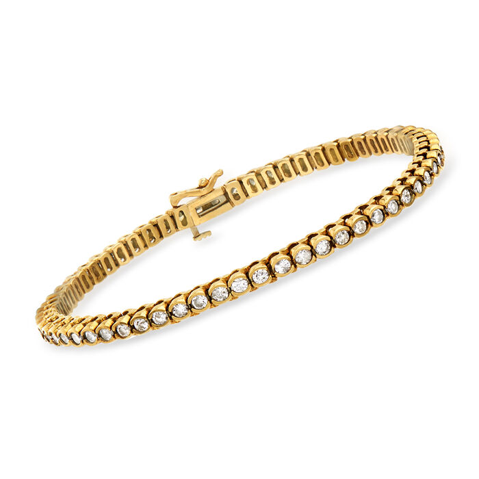 "C. 1980 Vintage 3.00 ct. t.w. Diamond Line Bracelet in 14kt Yellow Gold. 7"""