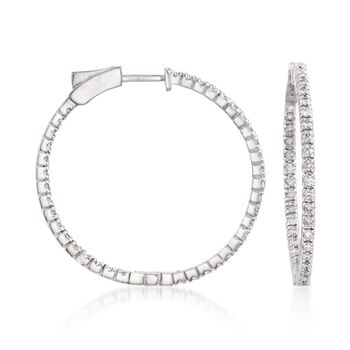 "1.50 ct. t.w. Diamond Inside-Outside Hoop Earrings in 14kt White Gold. 1 3/16"", , default"