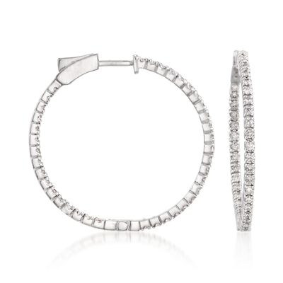 1.50 ct. t.w. Diamond Inside-Outside Hoop Earrings in 14kt White Gold, , default