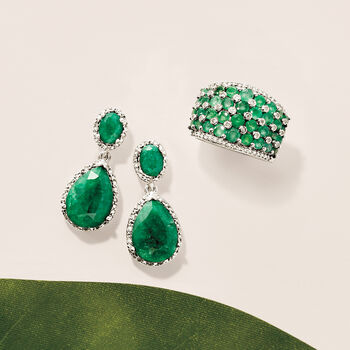10.50 ct. t.w. Emerald and .35 ct. t.w. Diamond Drop Earrings in Sterling Silver, , default