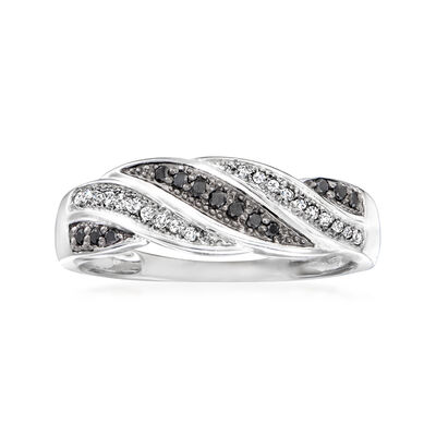 .15 ct. t.w. Black and White Diamond Twist Ring in Sterling Silver