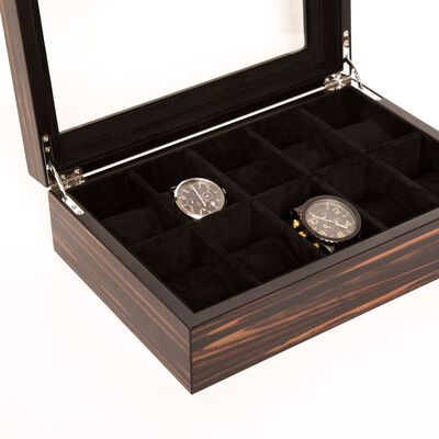 Brouk & Co. Matte Ebony Wooden 10-Watch Holder, , default
