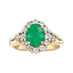 1.70 Carat Emerald and .75 ct. t.w. Diamond Ring in 14kt Yellow Gold, , default