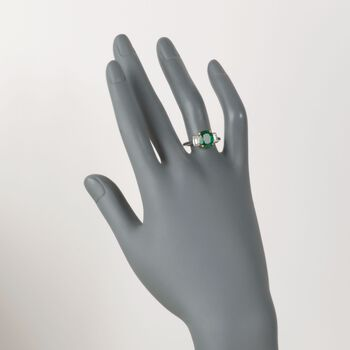 C. 1990 Vintage 2.65 Carat Emerald and .45 ct. t.w. Diamond Ring in Platinum. Size 8.75, , default