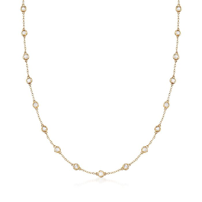 2.00 ct. t.w. Bezel-Set Diamond Station Necklace in 18kt Yellow Gold