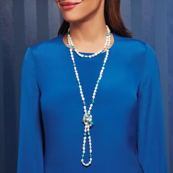 """7.5-8.5mm Cultured Pearl and 7-9mm Turquoise Bead Endless Necklace with Sterling Silver Shortener. 72"""", , default"""