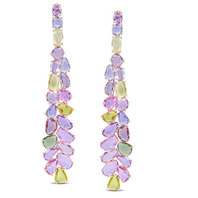 27.90 ct. t.w. Multicolored Sapphire Cluster Drop Earrings in 14kt Rose Gold, , default