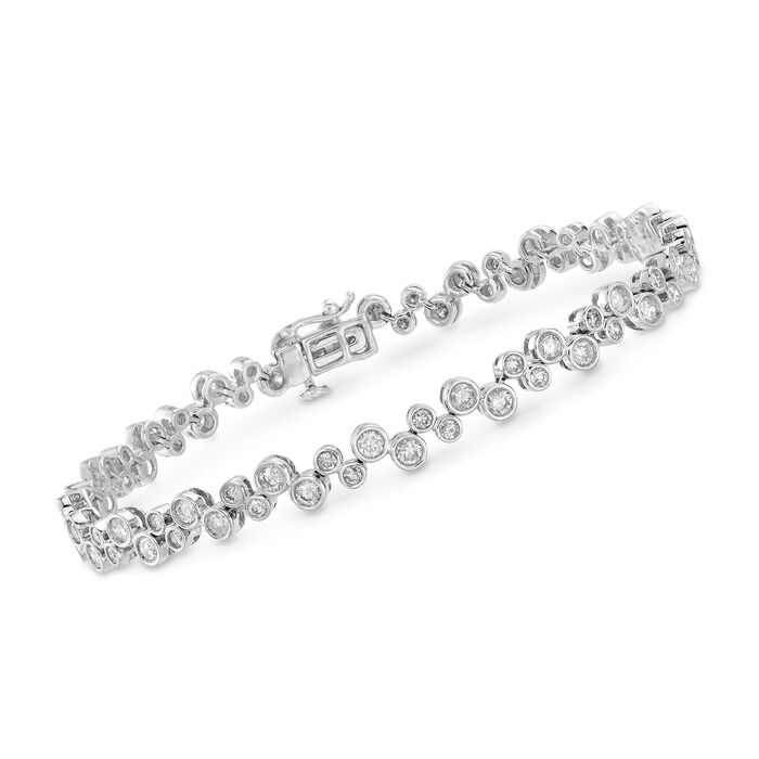 "3.00 ct. t.w. Bezel-Set Diamond Bubble Bracelet in 14kt White Gold. 7"", , default"