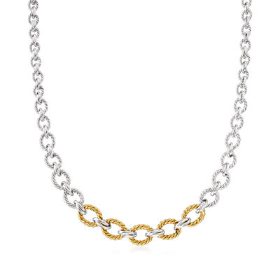 Sterling Silver and 14kt Yellow Gold Graduated Oval-Link Necklace