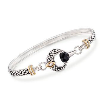 """Andrea Candela Black Onyx Bracelet in Sterling Silver and 18kt Gold. 7"""", , default"""