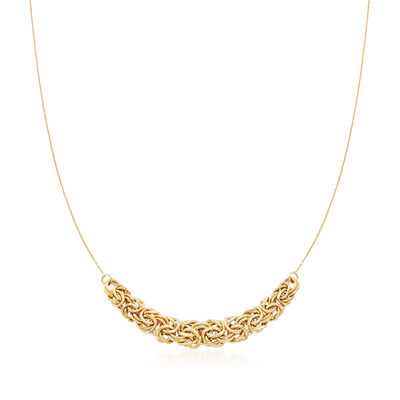 14kt Yellow Gold Byzantine Center Necklace