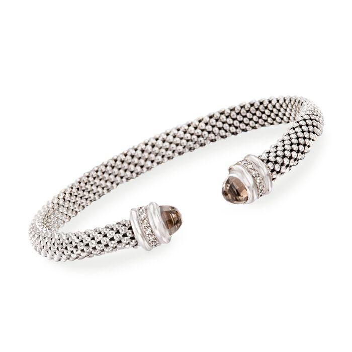 "Phillip Gavriel ""Popcorn"" .40 ct. t.w. Smoky Quartz and .14 ct. t.w. Diamond Cuff Bracelet in Sterling Silver"