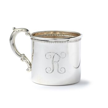 Baby's Sterling Silver Personalized Cup With Floral Handle, , default
