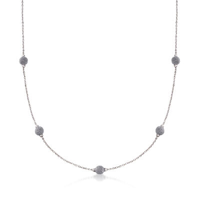 Italian Diamond Stardust Bead Station Necklace in 18kt White Gold, , default