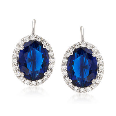 Oval Simulated Sapphire and .65 ct. t.w. CZ Halo Earrings in Sterling Silver, , default
