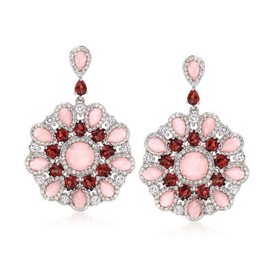Pink Opal, 4.30 ct. t.w. Garnet and 2.70 ct. t.w. White Topaz Circle Drop Earrings in Sterling Silver, , default