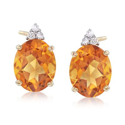4.95 ct. t.w. Citrine and .12 ct. t.w. Diamond Earrings in 14kt Yellow Gold, , default