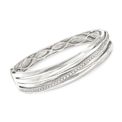.79 ct. t.w. Diamond Striped Bangle in 14kt White Gold, , default