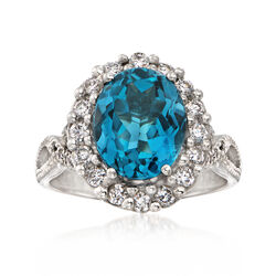 C. 1990 Vintage 4.05 Carat Blue Topaz and .55 ct. t.w. Diamond Ring in 14kt White Gold, , default
