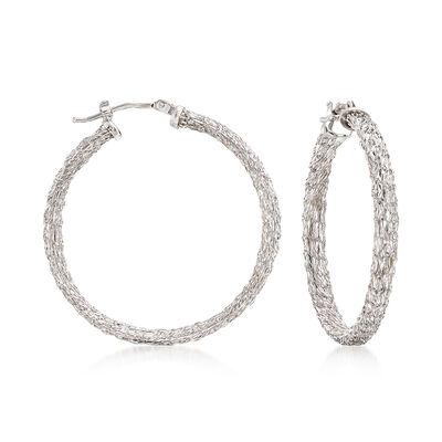 Italian 14kt White Gold Mesh Hoop Earrings, , default