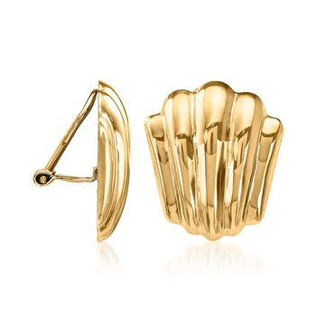 14kt Yellow Gold Seashell Motif Clip-On Earrings, , default