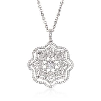 "1.38 ct. t.w. Diamond Floral Pendant Necklace in 14kt and 18kt White Gold. 16"", , default"