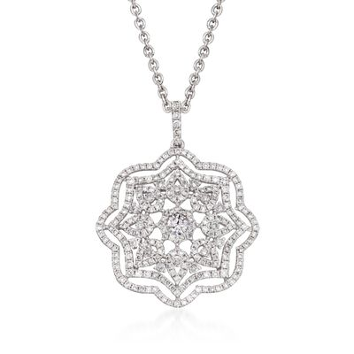 1.38 ct. t.w. Diamond Floral Pendant Necklace in 14kt and 18kt White Gold, , default