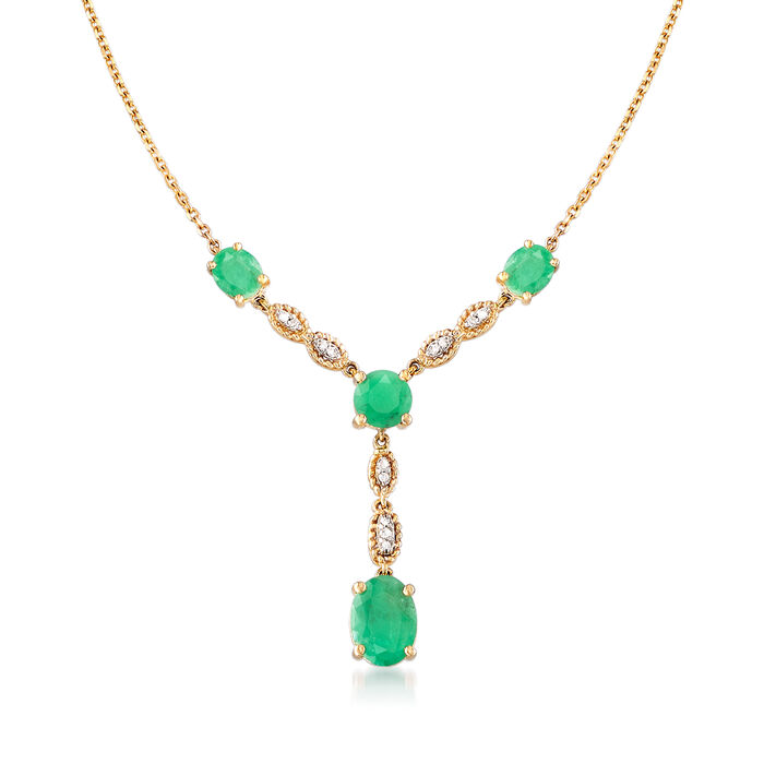 2.00 ct. t.w. Emerald Y-Necklace with Diamond Accents in 14kt Yellow Gold
