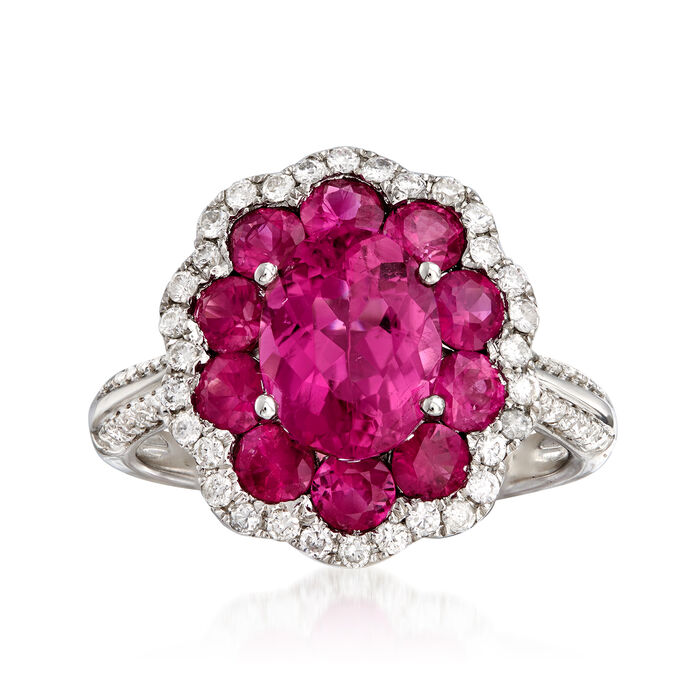 C. 1980 Vintage 1.99 Carat Pink Tourmaline, 1.60 ct. t.w. Ruby and .45 ct. t.w. Diamond Cluster Ring in 18kt White Gold. Size 6.5