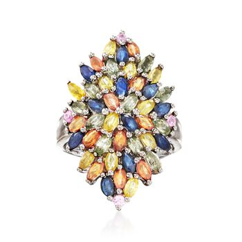 3.60 ct. t.w. Multicolored Sapphire Cluster Ring in Sterling Silver, , default