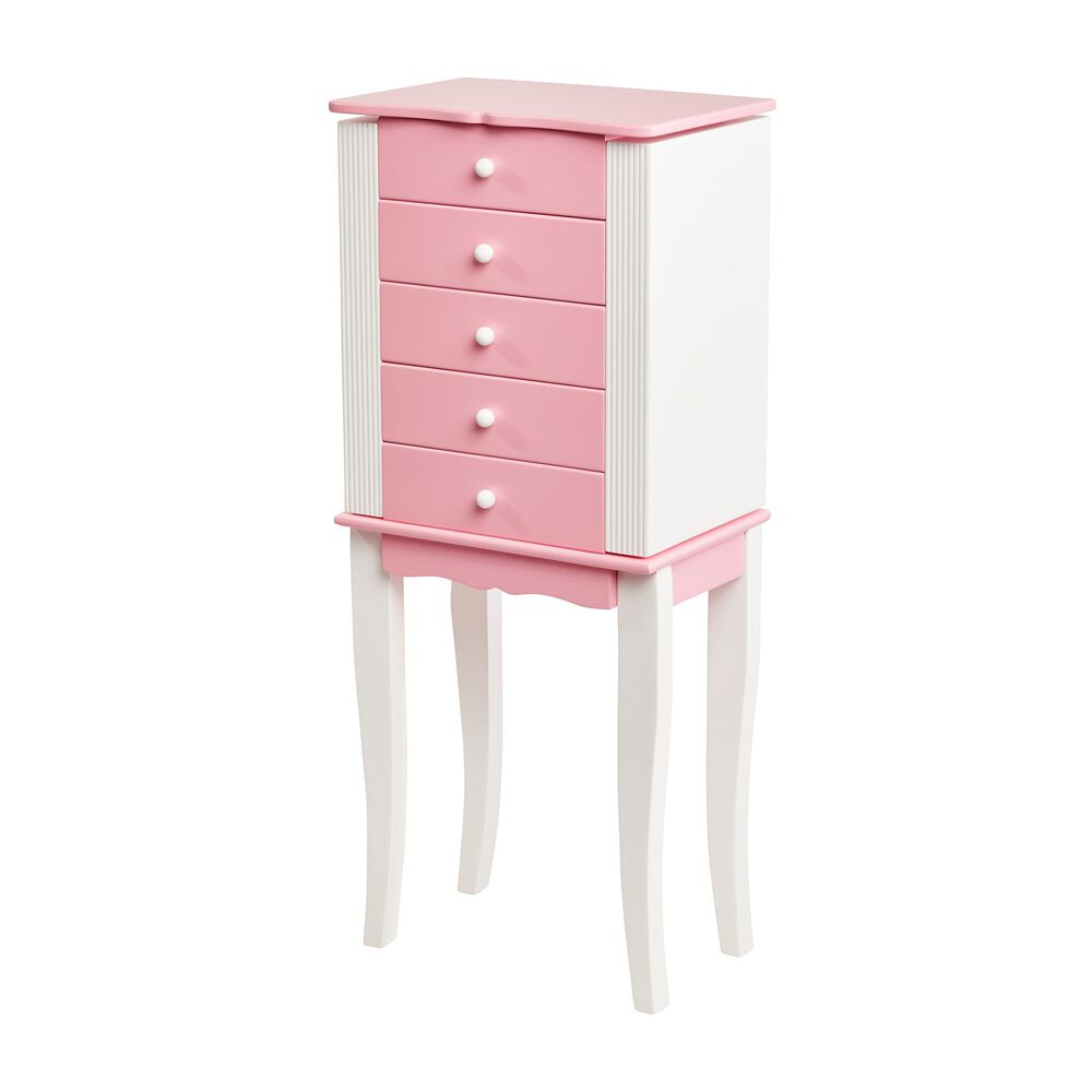 Mele Co Louisa Pink And White Wooden Jewelry Armoire