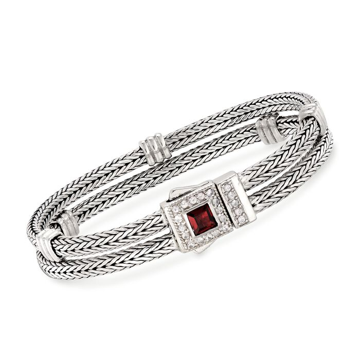"Phillip Gavriel ""Woven"" .85 Carat Garnet and .48 ct. t.w. White Sapphire Double Row Station Bracelet in Sterling Silver. 7.25"", , default"