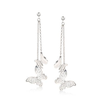 Italian Sterling Silver Double Chain Butterfly Drop Earrings, , default