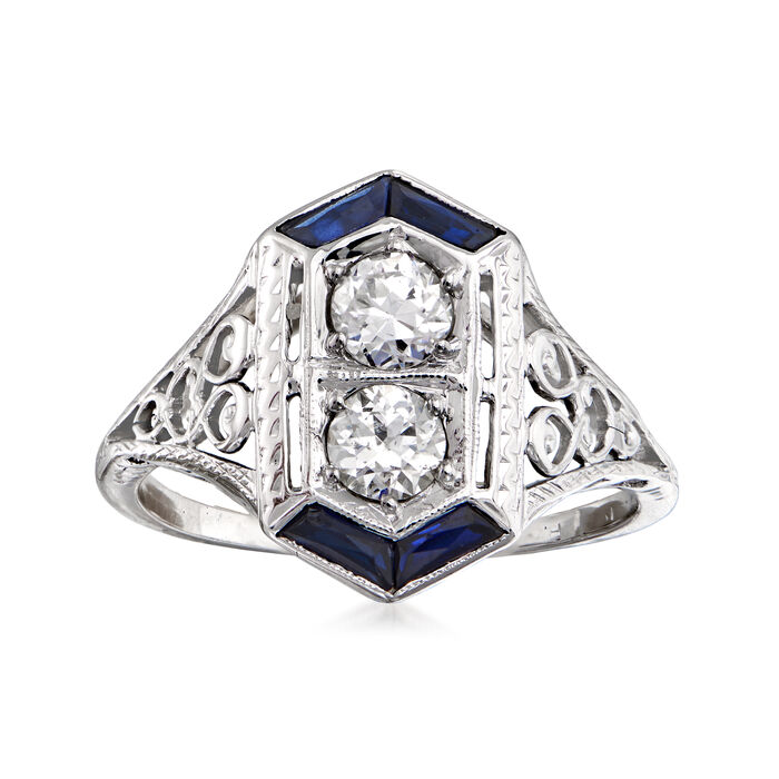C. 1950 Vintage .50 ct. t.w. Diamond and .12 ct. t.w. Simulated Sapphire Ring in 18kt White Gold