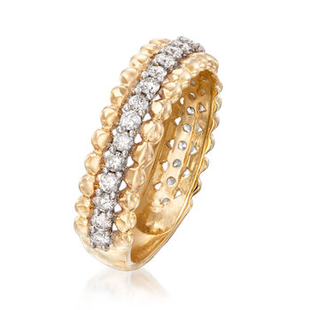 .50 ct. t.w. Diamond Beaded-Edge Ring in 14kt Yellow Gold