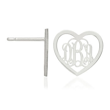 Sterling Silver Small Laser Polished Heart Monogram Post Earrings