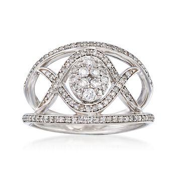 .65 ct. t.w. Diamond Crisscross Ring in 14kt White Gold, , default