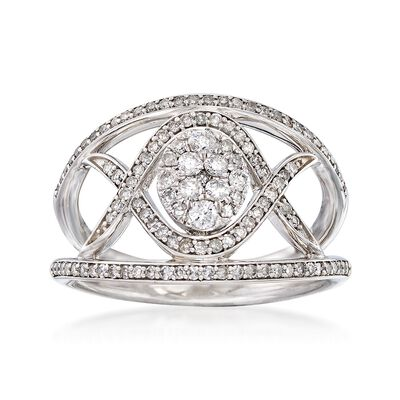 .65 ct. t.w. Diamond Crisscross Ring in 14kt White Gold, , default