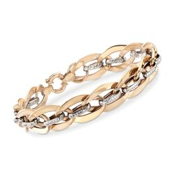 14kt Two-Tone Gold Diamond-Cut and Polished Link Bracelet, , default
