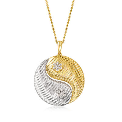 .20 ct. t.w. Diamond Yin-Yang Pendant Necklace in Sterling Silver and 18kt Gold Over Sterling