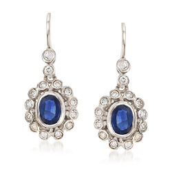 C. 1980 Vintage 1.70 ct. t.w. Sapphire and .90 ct. t.w. Diamond Drop Earrings in 14kt White Gold, , default