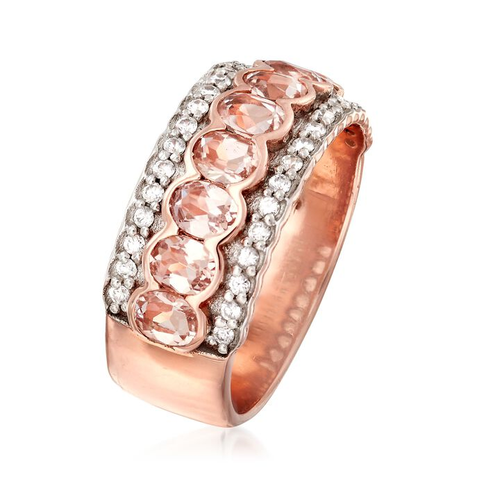 1.40 ct. t.w. Morganite and .30 ct. t.w. White Zircon Ring in 18kt Rose Gold Over Sterling Silver