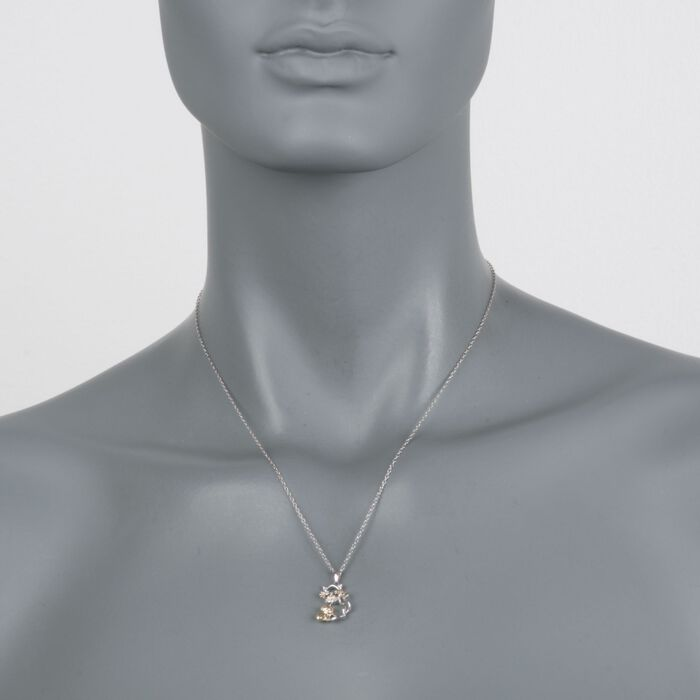 "Sterling Silver and 18kt Gold Over Sterling Cat and Kitten Pendant Necklace with Diamond Accents. 18"", , default"