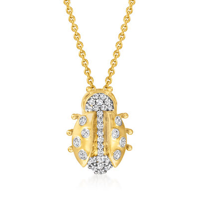 .25 ct. t.w. Diamond Ladybug Pendant Necklace in 18kt Gold Over Sterling