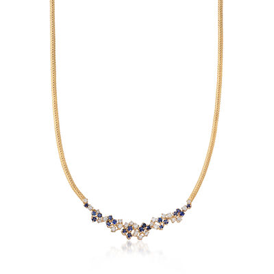 C. 1980 Vintage 3.00 ct. t.w. Sapphire and 1.60 ct. t.w. Diamond Cluster Necklace in 14kt Yellow Gold, , default