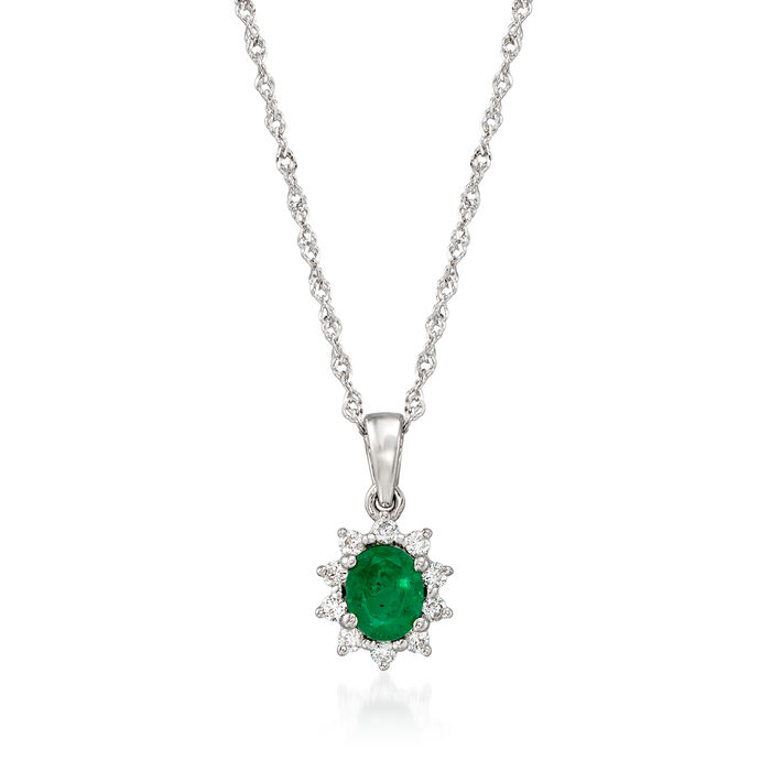 .35 Carat Emerald and .10 ct. t.w. Diamond Pendant Necklace in 14kt White Gold